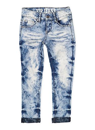 Girls 7-16 VIP Acid Wash Skinny Jeans,DENIM,large