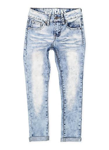 Girls 7-16 VIP Cloud Whisker Wash Jeans,DENIM,large