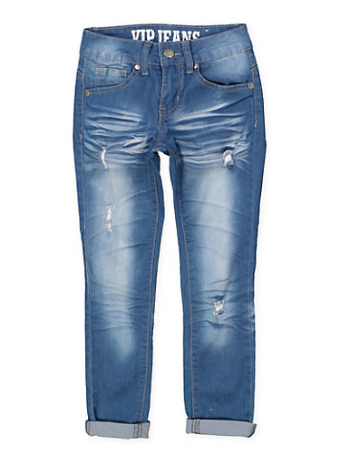 Girls 7-16 VIP Distressed Whisker Wash Jeans,DENIM,large