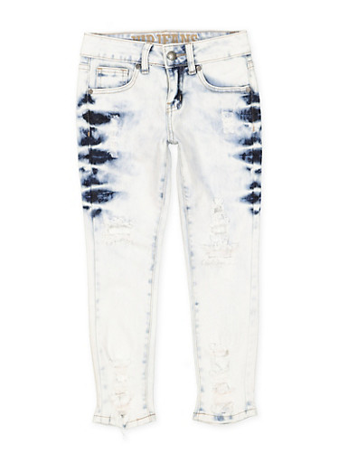 Girls 7-16 VIP Distressed Skinny Jeans,DENIM,large