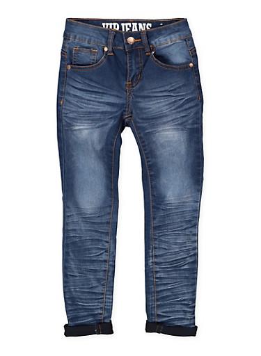 Girls 7-16 VIP Whisker Wash Roll Cuff Skinny Jeans,DENIM,large