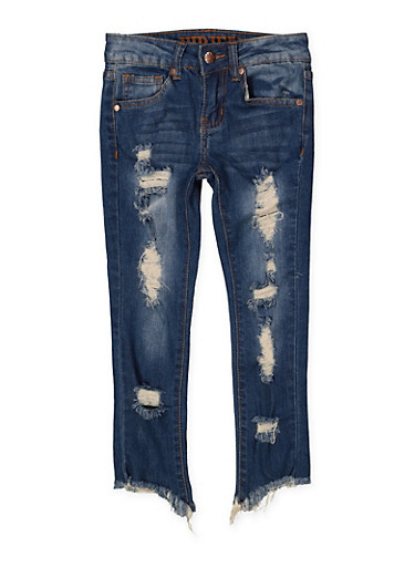 Girls 7-16 VIP Frayed Hem Destruction Jeans,DENIM,large