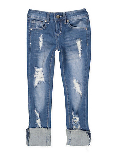 Girls 7-16 VIP Ripped Jeans,DENIM,large