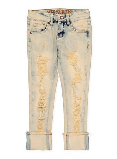 Girls 7-16 VIP Frayed Hem Jeans,DENIM,large