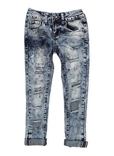 Girls 7-16 VIP Bleached Jeans,DENIM,large