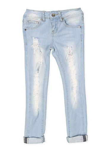 Girls 7-16 VIP Destroyed Jeans,DENIM,large