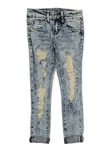 Girls 7-16 VIP Acid Wash Skinny Jeans,DENIM,large