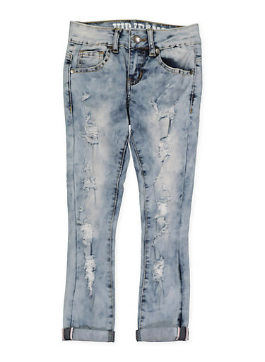 Girls 7-16 VIP Distressed Acid Wash Jeans,DENIM,large