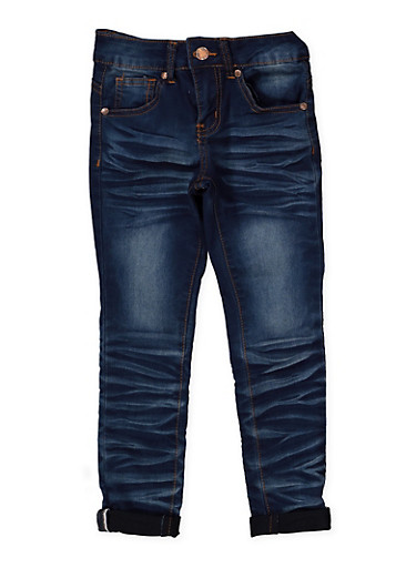 Girls 7-16 VIP Whisker Wash Jeans,DENIM,large