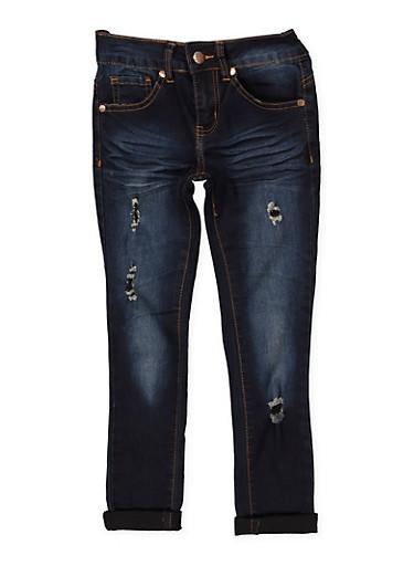 Girls 7-16 VIP Ripped Roll Cuff Jeans,DENIM,large