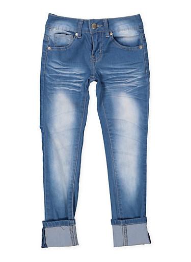 Girls 7-16 VIP Whisker Wash Jeans,DENIM,large