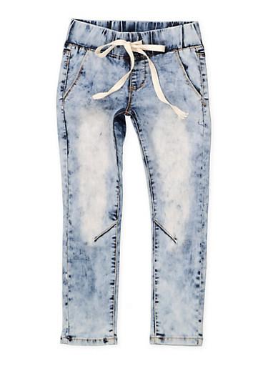 Girls 7-16 Drawstring Waist Skinny Jeans,DENIM,large