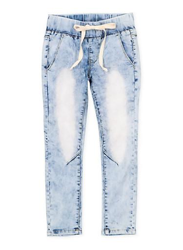 Girls 7-16 VIP Drawstring Waist Jeans,DENIM,large