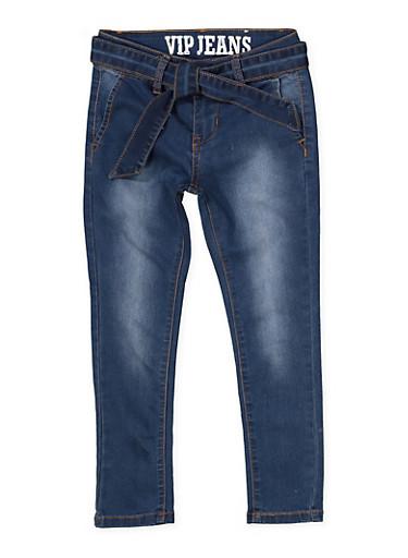 Girls 7-16 VIP Tie Waist Jeans,DENIM,large