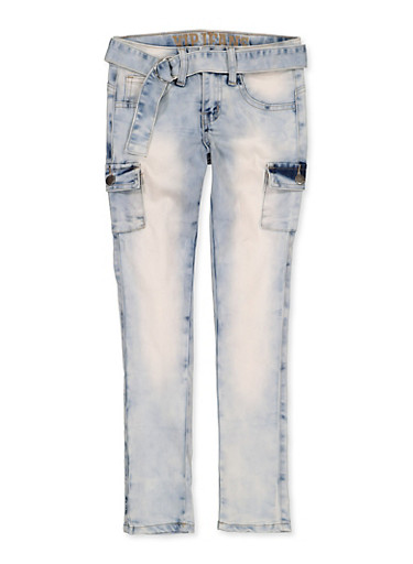 Girls 7-16 VIP Cargo Belted Jeans,DENIM,large