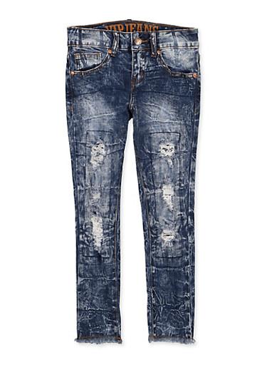Girls 7-16 VIP Frayed Hem Jeans,DARK WASH,large