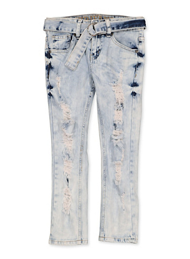 Girls 7-16 VIP Distressed Belted Jeans,LIGHT WASH,large
