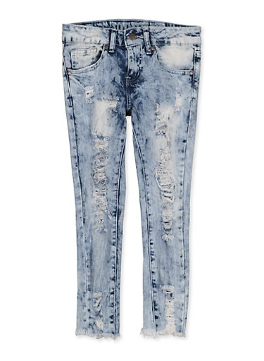 Girls 7-16 VIP Ripped Frayed Hem Jeans,MEDIUM WASH,large