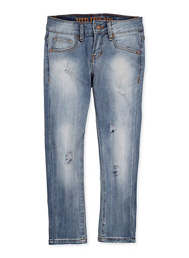 Girls 7-16 VIP Ripped Jeans,DARK WASH,large