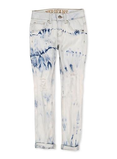 Girls 7-16 VIP Acid Wash Distressed Skinny Jeans,DENIM,large
