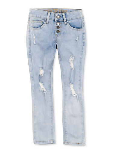 Girls 7-16 VIP Distressed 4 Button Jeans,LIGHT WASH,large