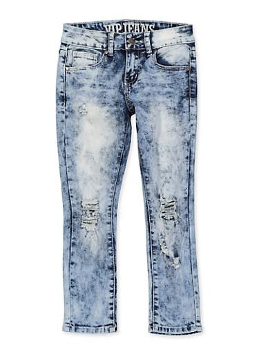 Girls 7-16 VIP Frayed Distressed Jeans,DENIM,large