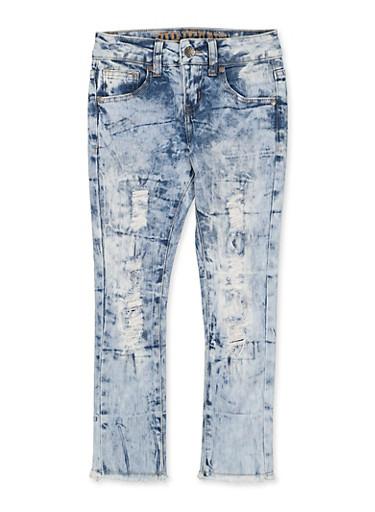 Girls 7-16 VIP Distressed Acid Wash Jeans | 1629065300172,MEDIUM WASH,large