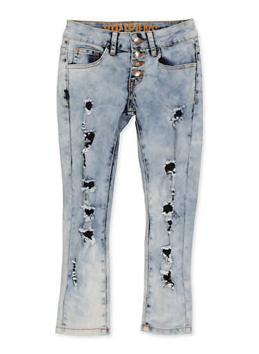 Girls 7-16 VIP 4 Button Frayed Jeans,DENIM,large