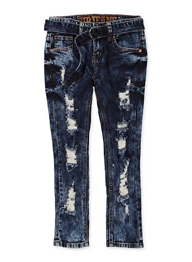 Girls 7-16 VIP Belted Acid Wash Jeans,DARK WASH,large