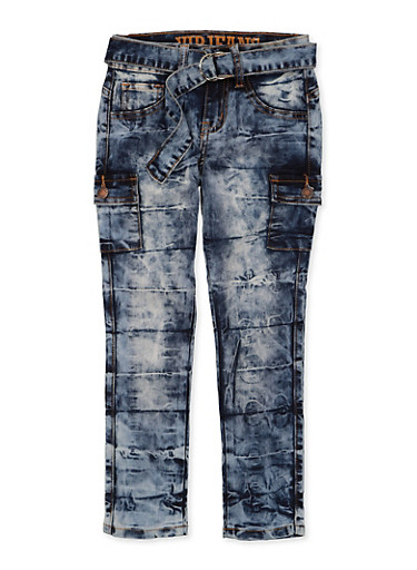 Girls 7-16 VIP Belted Cargo Jeans,DENIM,large