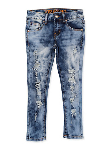 Girls 7-16 VIP Distressed Frayed Jeans,DARK WASH,large