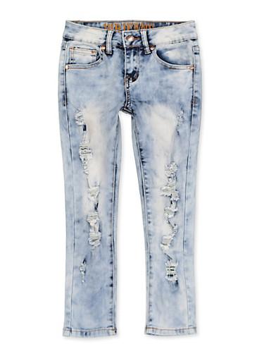 Girls 7-16 VIP Frayed Jeans,DENIM,large