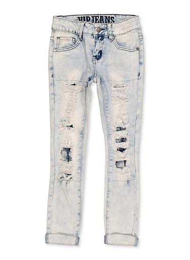 Girls 7-16 VIP Rip and Repair Jeans,DENIM,large