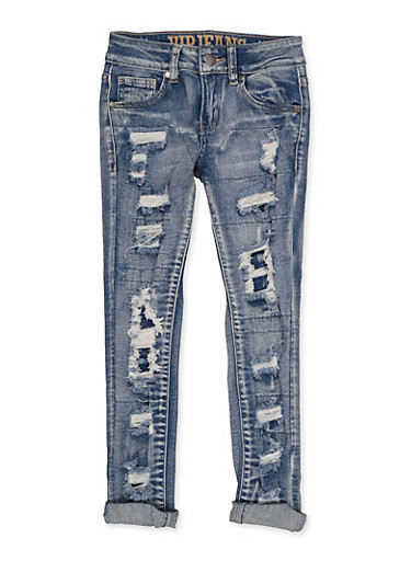 Girls 7-16 VIP Whiskered Patch and Repair Jeans,DENIM,large
