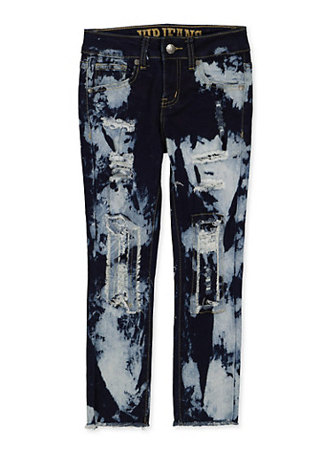 Girls 7-16 VIP Rip and Repair Acid Wash Jeans,DENIM,large