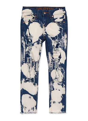Girls 7-16 VIP Acid Wash Patch and Repair Jeans,DENIM,large