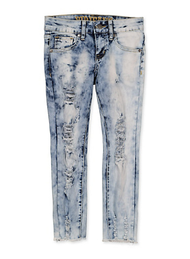 Girls 7-16 VIP Frayed Hem Ripped Jeans,MEDIUM WASH,large