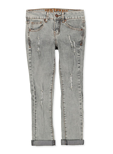 Girls 7-16 VIP Frayed Roll Cuff Jeans,DENIM,large