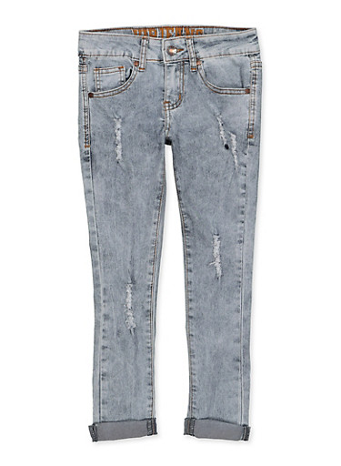 Girls 7-16 VIP Distressed Rolled Cuff Jeans,DENIM,large
