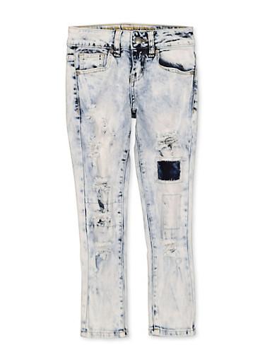 Girls 7-16 VIP Distressed Rip and Repair Jeans,DENIM,large