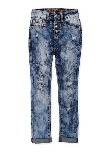Girls 7-16 VIP Distressed 4 Button Jeans,DENIM,large
