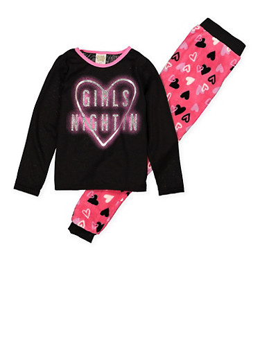 Girls 7-16 Girls Night In Graphic Pajama Top and Bottom Set,BLACK,large