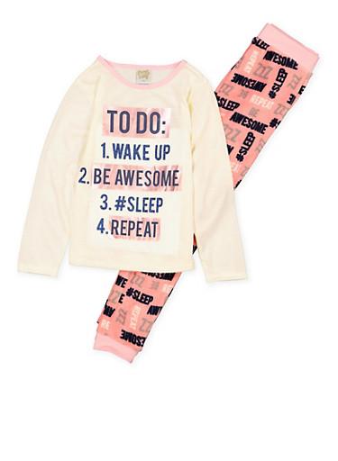 Girls 7-16 Sleep Graphic Pajama Top and Bottom Set,IVORY,large