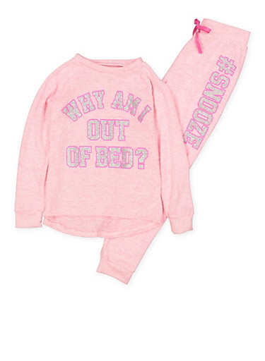 Girls 7-16 Snooze Graphic Knit Pajama Top and Joggers,PINK,large