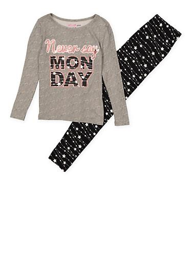Girls 7-16 Never Say Monday Pajama Top and Bottom,HEATHER,large
