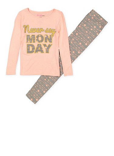 Girls 7-16 Never Say Monday Pajama Top and Bottom,PINK,large