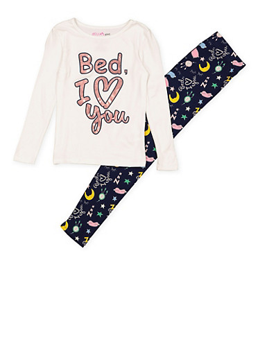Girls 7-16 Bed I Love You Pajama Top and Bottom,WHITE,large