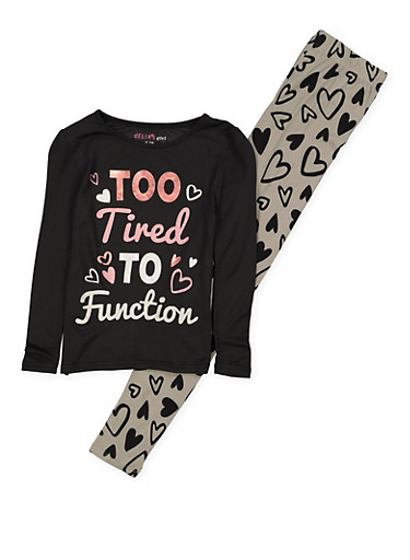 Girls 7-16 Too Tired to Function Pajama Tee and Leggings,BLACK,large