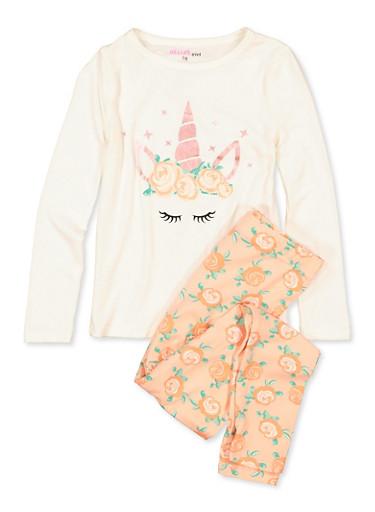 Girls 7-16 Unicorn Pajama Top and Leggings Set,PINK,large