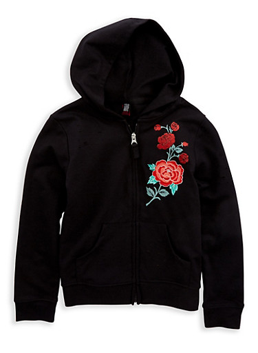 Girls 7-16 Rose Embroidered Zip Up Sweatshirt | Tuggl